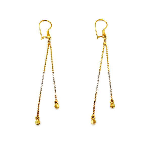 Tricolor Moon-Cut Ball Drop Earrings (14K) Popular Jewelry New York