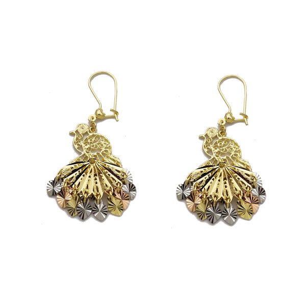 Tricolor Peacock Chandelier Dangling Earrings (14K) Popular Jewelry New York