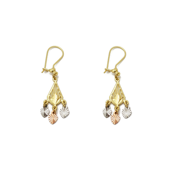 Tricolor Pear-Shape Chandelier Dandgling Earrings (14K) Popular Jewelry New York