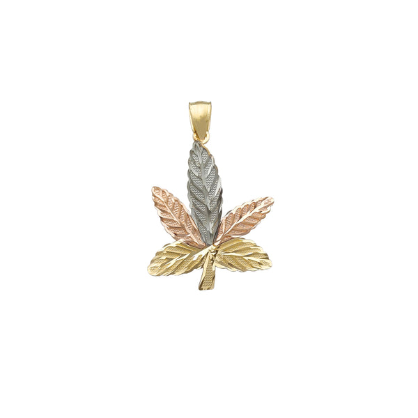 Tricolor Textured Cannabis Leaf Pendant (14K) Popular Jewelry New York