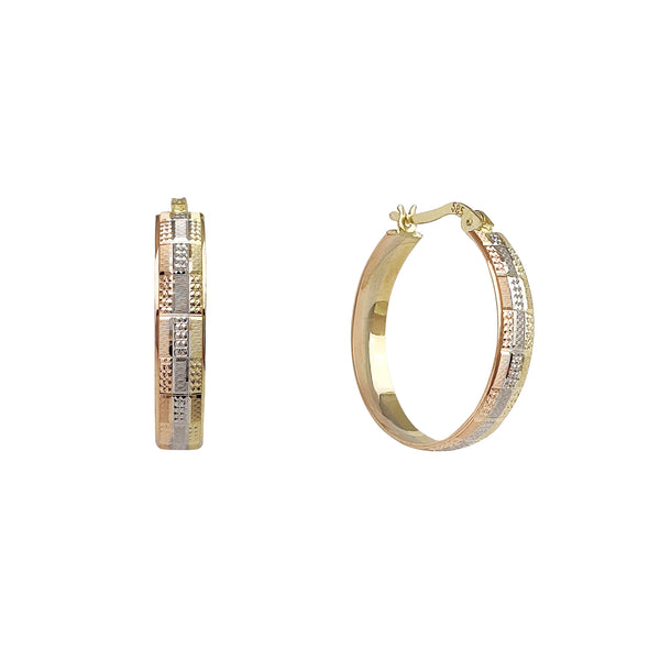 Tricolor Textured Diamond Cuts Hoop Earrings (14K) Popular Jewelry New York