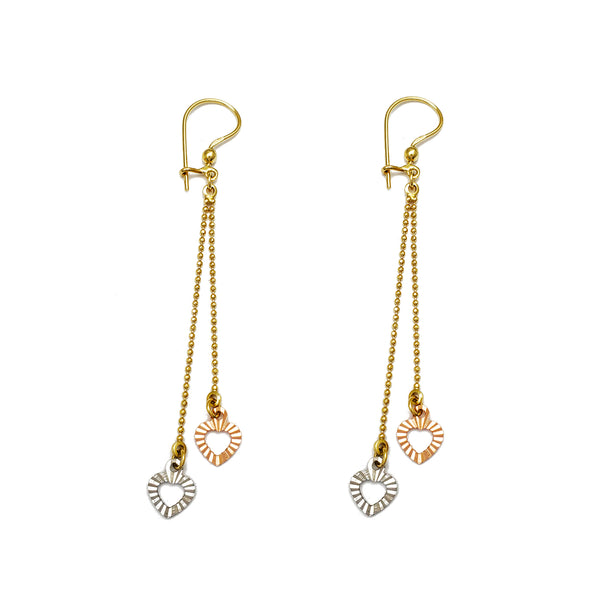 Tricolor Two-Hearts & Ball Drop Earrings (14K) Popular Jewelry New York