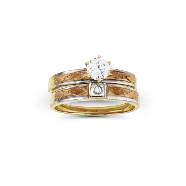 Tricolor Two-Piece Set Ring (14K) Popular Jewelry New York