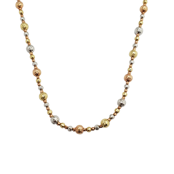 Tricolor Bead Necklace (14K)
