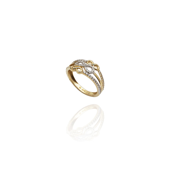 Triple Infinity Stack CZ Ring (14K)