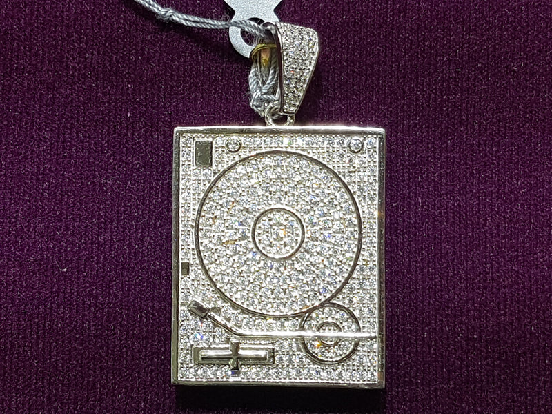 Iced-Out Turntable Pendant Silver - Popular Jewelry