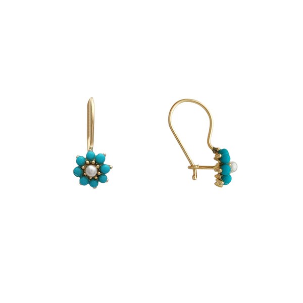 Turquoise & Pearl Flower Dangling Earrings (14K) Popular Jewelry New York