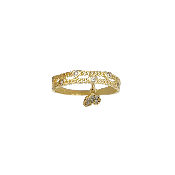 Two-Row Cuban Dangling Heart Ring (14K) Popular Jewelry New York