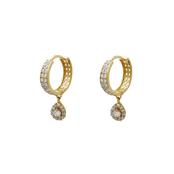 Two-Row Pave Teardrop Hanging Huggie Earrings (14K) Popular Jewelry New York