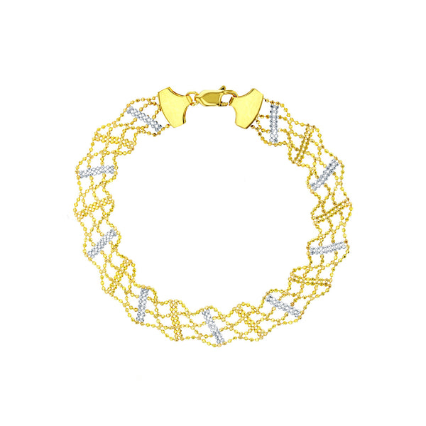 Two-Tone Beaded Knit Bracelet (14K)