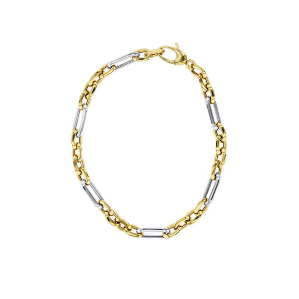 Two-Tone Light Weight Cable Figaro Bracelet (14K)
