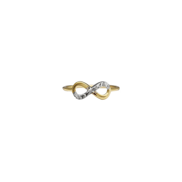 Two-Tone Diamond Cuts Infinity Ring (14K)