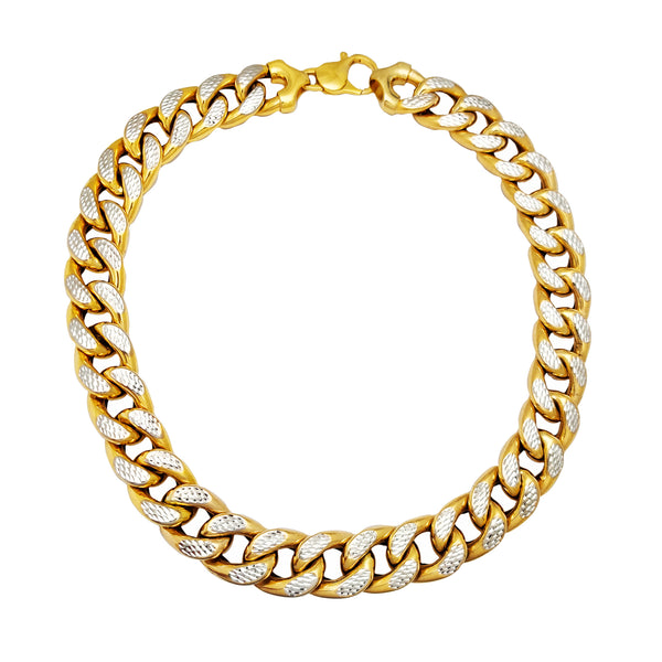 Two-Tone Hollow Puffy Cuban Chain (14K) Popular Jewelry New York