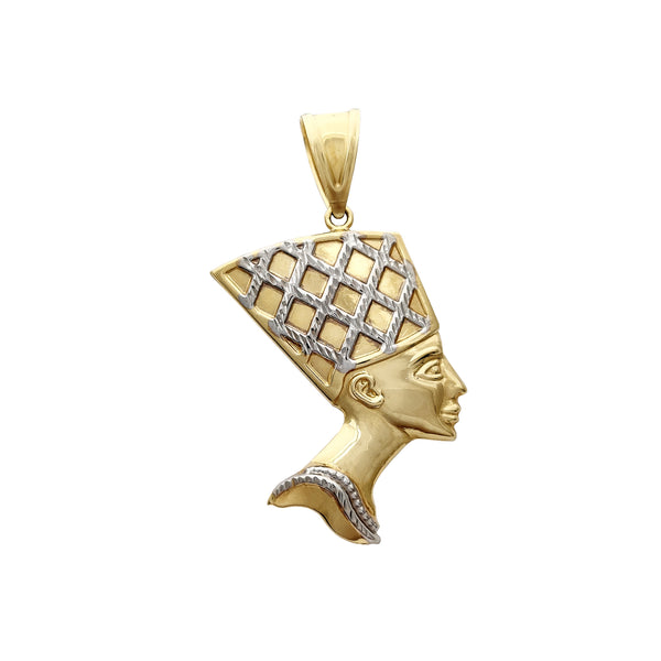 Small Size Close-Back Two-Tone Nefertiti Pendant (14K) Popular Jewelry New York