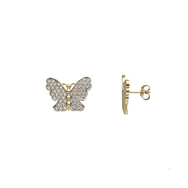 Two-Tone Pave Setting Butterfly Stud Earrings (14K) Popular Jewelry New York