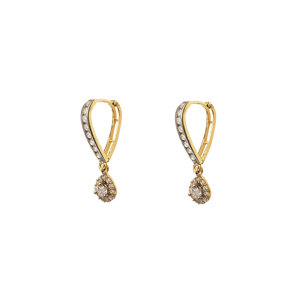 Two-Tone Pave Teardrop V-Shape Hanging Huggie Earrings (14K) Popular Jewelry New York