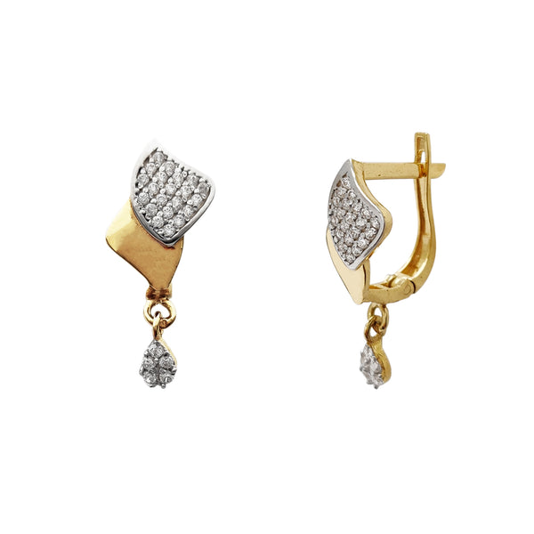 Two-Tone Pave Teardrop Hanging Huggie Earrings (14K) Popular Jewelry New York