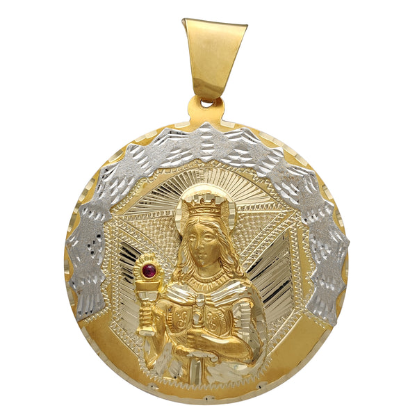 Two-Tone Saint Barbara Medallion Pendant (14K) Popular Jewelry New York