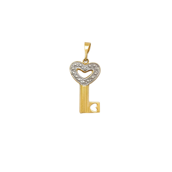 Two-Tone Semi-Puffy Love Key Pendant (14K) Popular Jewelry New York