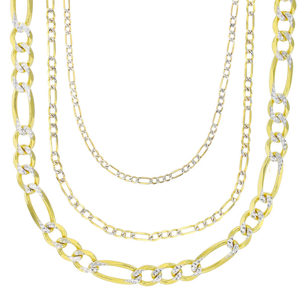 Two-Tone Solid Figaro Chain (14K)