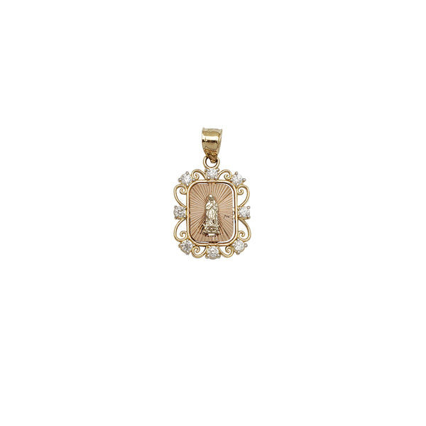 Two-Tone Tiny Virgin Mary CZ Pendant (14K)