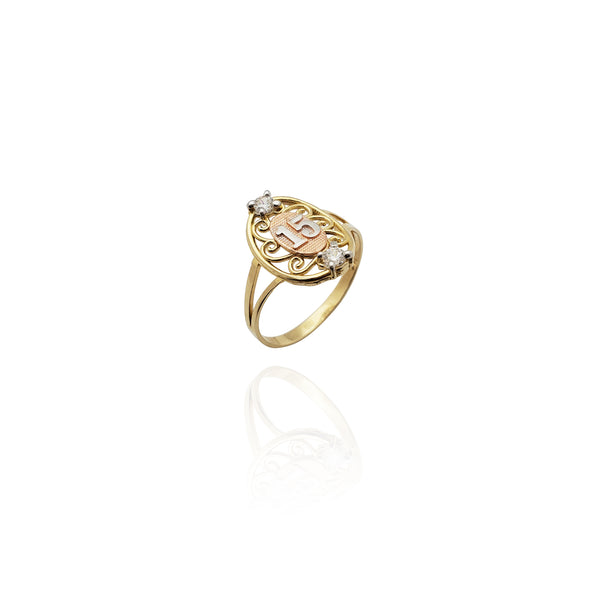 Two-Tone 15th Birthday CZ Ring(14K)ニューヨーク Popular Jewelry