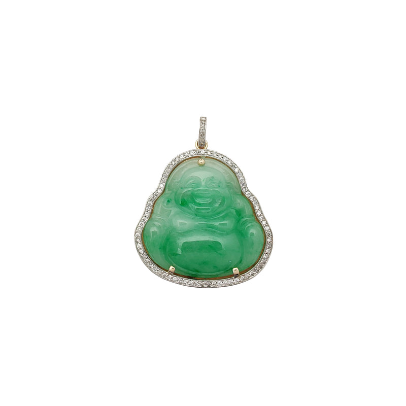 Two-Tone Buddha Jade Diamond Framed Pendant (14K) Popular Jewelry New York