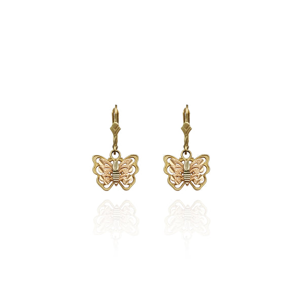 Twa-toan Diamond Cut Butterfly Dangling Earrings (14K) New York Popular Jewelry