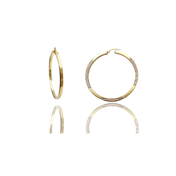Two-Tone Diamond Cuts Hoop Earrings (14K)