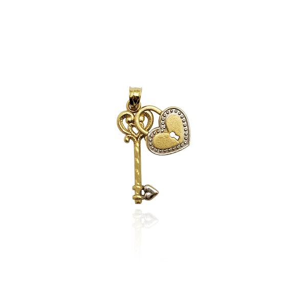 Zwee-Tone Schlëssel A Heart Heart Pendant (14K) virum - Popular Jewelry - New York