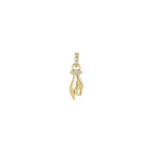 Diamond Hand of Buddha Pendant yellow (14K) front - Popular Jewelry - New York