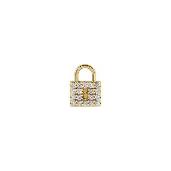 Diamond Padlock Pendant yellow (14K) front - Popular Jewelry - New York