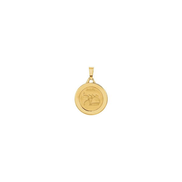 Round Mazel Good Luck Medal (14K) front - Popular Jewelry - New York