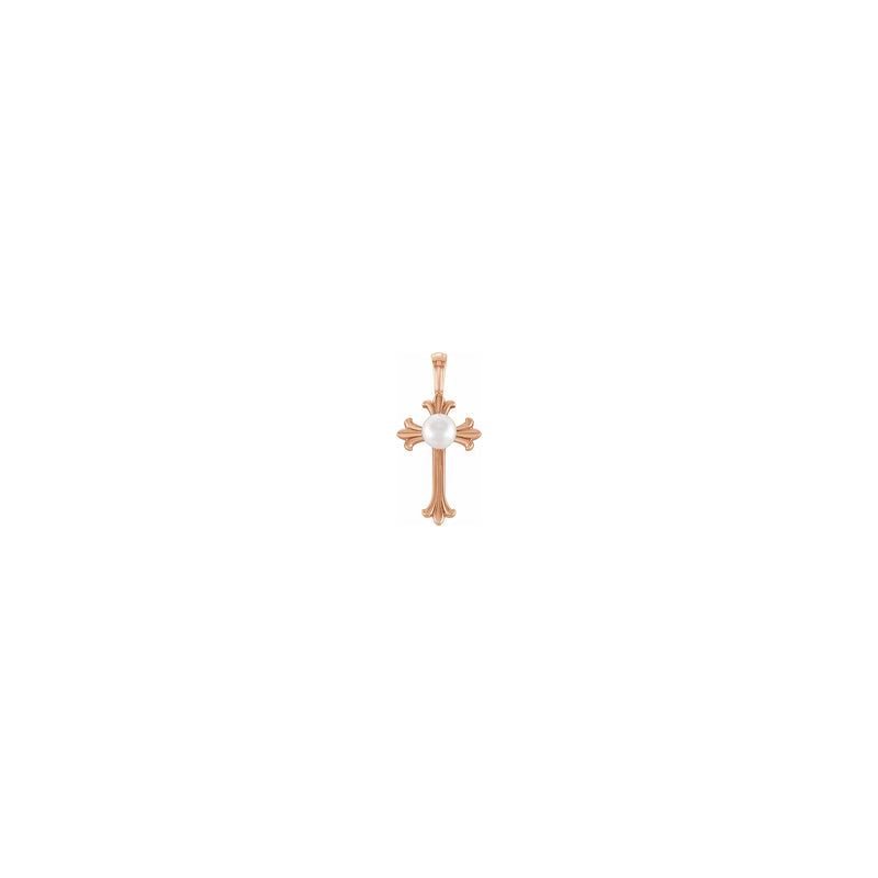 Pearl Patonce Cross Pendant rose (14K) front - Popular Jewelry - New York