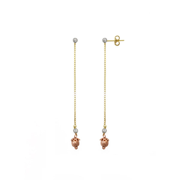 Berry Tri-Tone Drop Earrings (14K) main - Popular Jewelry - New York