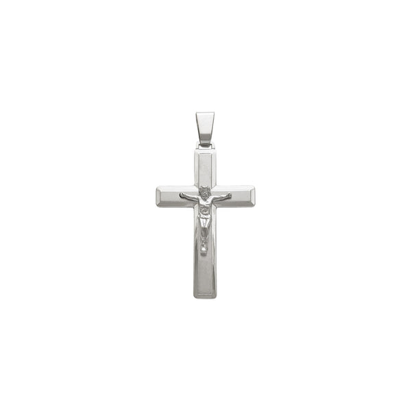 Bordered Crucifix Pendant (14K) front - Popular Jewelry - New York