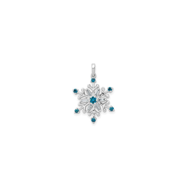 White & Blue Diamond Snowflake Pendant (14K) front - Popular Jewelry - New York
