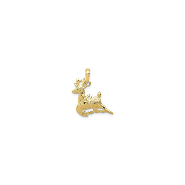 Christmas Reindeer Pendant (14K) front - Popular Jewelry - New York