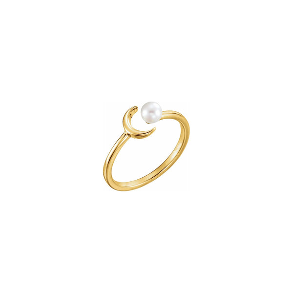 Crescent Moon Pearl Stackable Ring yellow (14K) diagonal - Popular Jewelry - New York