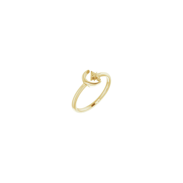 Crescent Moon & North Star Stackable Ring yellow (14K) main - Popular Jewelry - New York