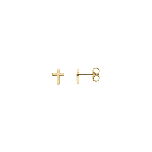 Cross Stud Earrings yellow (14K) main - Popular Jewelry - New York