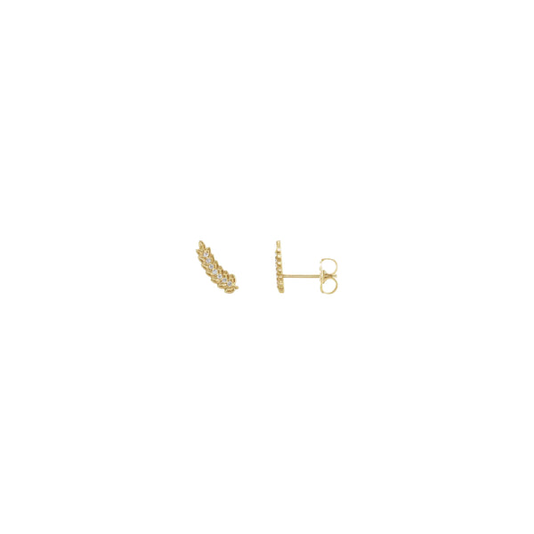 Diamond Accented Wheat Leaf Stud Earrings yellow (14K) main - Popular Jewelry - New York