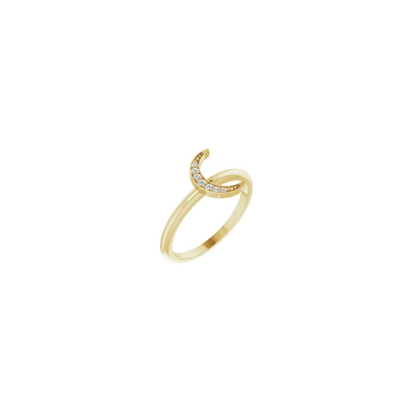 Diamond Crescent Moon Stackable Ring yellow (14K) main - Popular Jewelry - New York