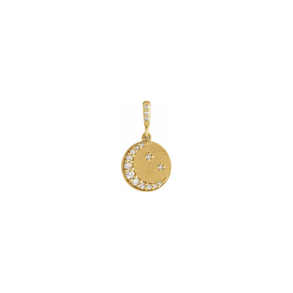 Diamond Crescent Moon and Stars Disc Pendant yellow (14K) front - Popular Jewelry - New York