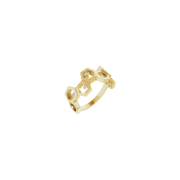 Diamond Honeycomb Stackable Ring yellow (14K) diagonal - Popular Jewelry - New York