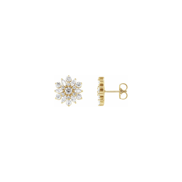 Diamond Iced-Out Snowflake Stud Earrings yellow (14K) main - Popular Jewelry - New York