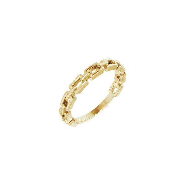 Elongated Cable Link Ring yellow (14K) diagonal - Popular Jewelry - New York