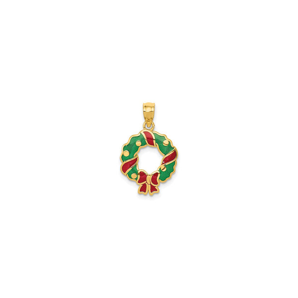 Festive Wreath Pendant (14K) front - Popular Jewelry - New York