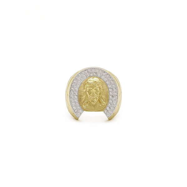 Iced-Out Jesus Cobble-Banded Ring (14K) front - Popular Jewelry - New York