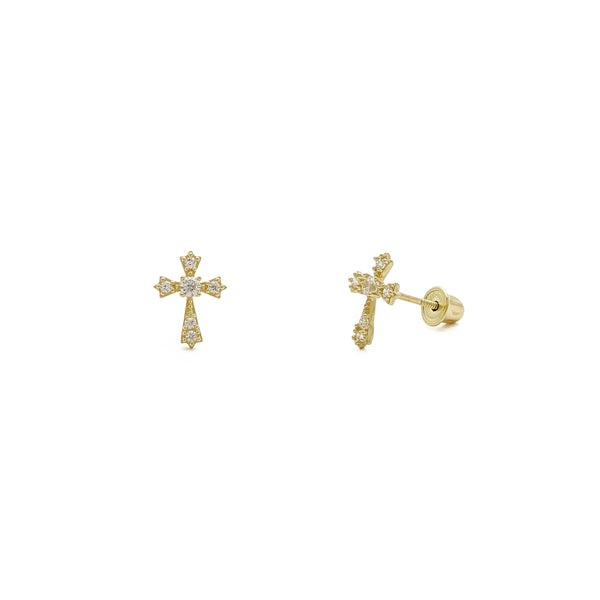 Icy Sharp Patonce Cross Stud Earrings yellow (14K) main - Popular Jewelry - New York